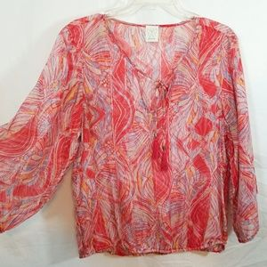Ella Moss boho sheer abstract tassel tie tunic top